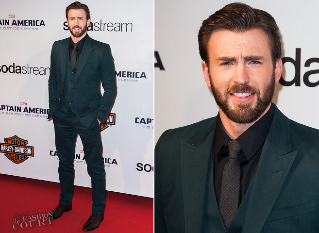 Chris Evans in Gucci | 'Captain America: The Winter Soldier' Paris Premiere