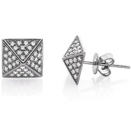 EF Collection Diamond Pyramid Stud Earrings in Gunmetal/Silver