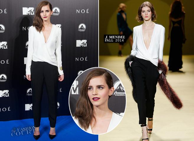 Emma Watson in J. Mendel | 'NOAH' Madrid Premiere