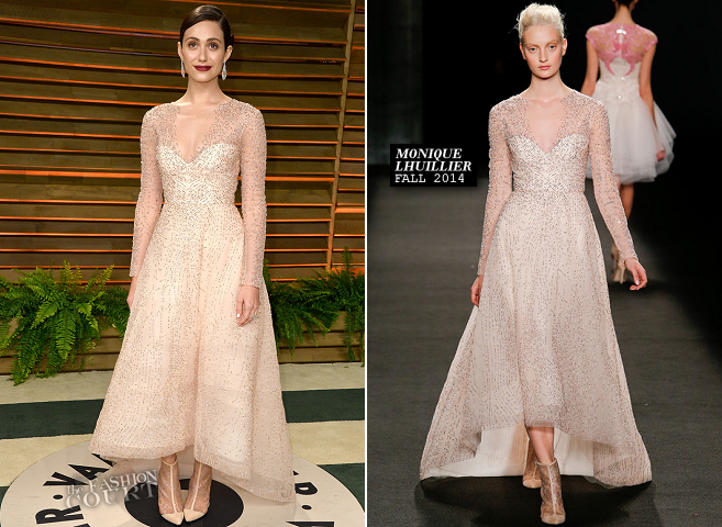 Emmy Rossum in Monique Lhuillier | 2014 Vanity Fair Oscar Party