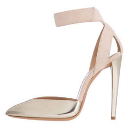 Emporio Armani Ankle-Strap Pumps in Suede with Lamé Detail
