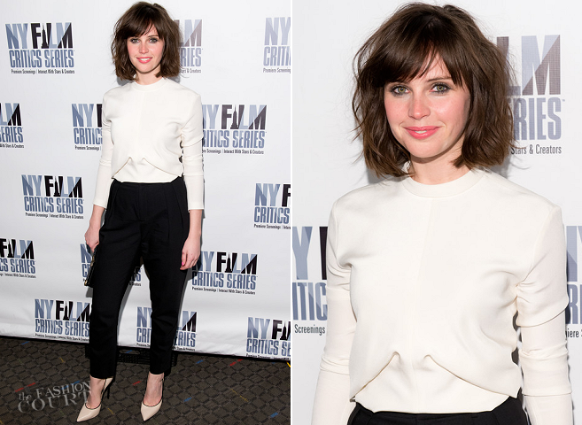 Felicity Jones in Balenciaga | 'Breathe In' New York Film Critics Series Screening
