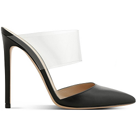 Gianvito Rossi 'VIRTUA' PVC and Leather Mules