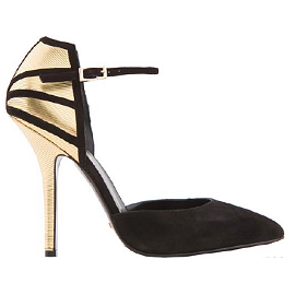 GREYMERY Suede Ankle Strap Pointe Pump Sandal with Gold Foil