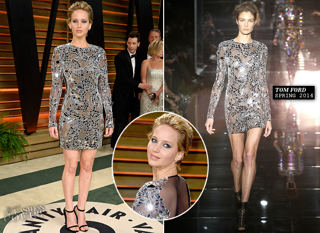 Jennifer Lawrence in Tom Ford | 2014 Vanity Fair Oscar Party