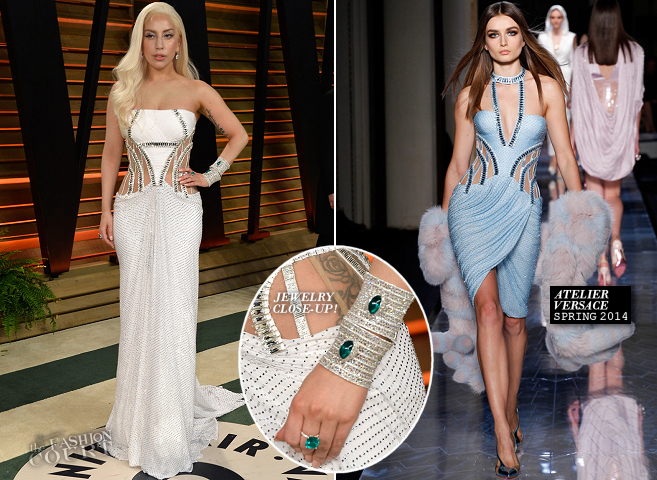 Lady Gaga in Atelier Versace | 2014 Vanity Fair Oscar Party