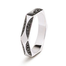 Melissa Kaye Jewelry Joss Ring in 18k White Gold with Black Diamonds