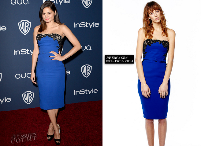 Melonie Diaz in Reem Acra | 2014 Warner Bros. / InStyle Golden Globe Awards After Party