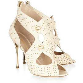 Nicholas Kirkwood Stud-Embellished Cut-Out Leather Sandals