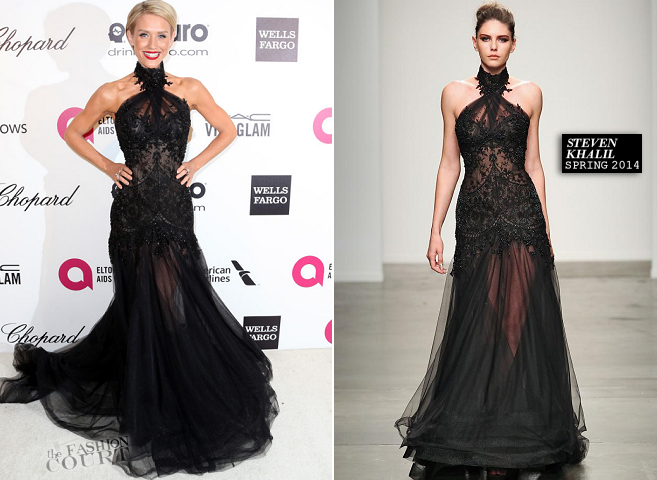 Nicky Whelan in Steven Khalil | 2014 Elton John AIDS Foundation Oscar Viewing Party