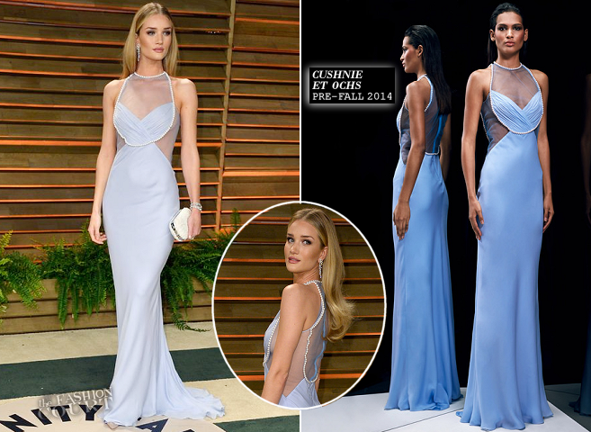 Rosie Huntington-Whiteley in Cushnie et Ochs | 2014 Vanity Fair Oscar Party