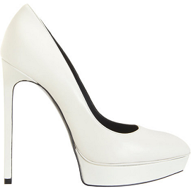 Saint Laurent Paris Classic Janis Escarpin Pumps in White