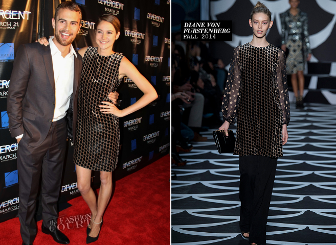 Shailene Woodley in Diane von Furstenberg & Theo James in ETRO | 'Divergent' Chicago Special Screening
