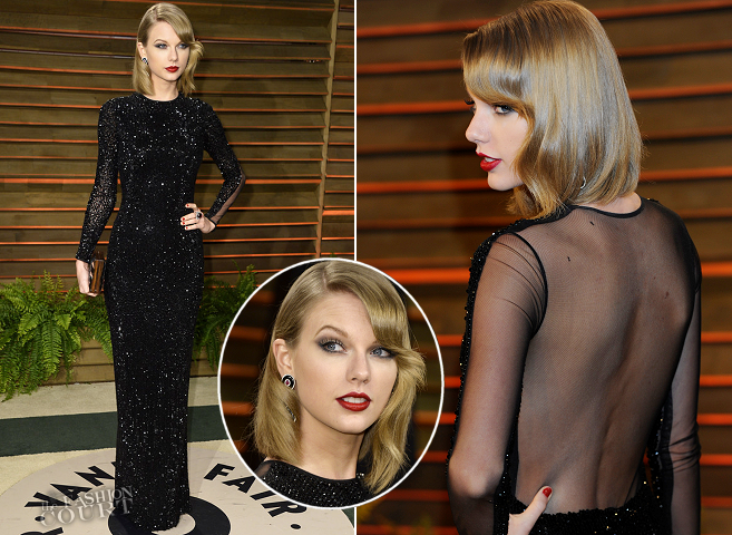 Taylor Swift in Julien Macdonald | 2014 Vanity Fair Oscar Party