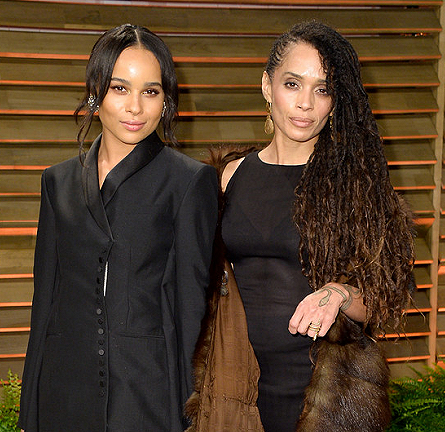 Zoe Kravitz in Balenciaga & Lisa Bonet in YSL | 2014 Vanity Fair Oscar Party