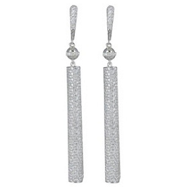 Jacob and Co. White Diamond Stick Drop Earrings