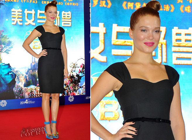 Léa Seydoux in Prada | 'La Belle et la Bête' Press Conference - Beijing International Film Festival 2014