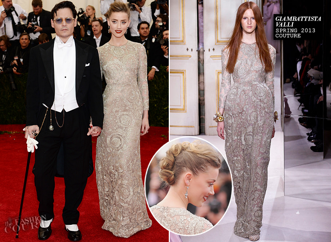 Johnny Depp in Ralph Lauren & Amber Heard in Giambattista Valli Couture | MET Gala 2014