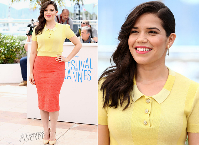 America Ferrera in Louis Vuitton & M Missoni | 'How To Train Your Dragon 2' Photocall - 2014 Cannes Film Festival