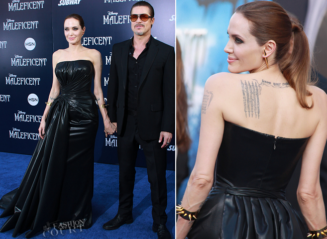Angelina Jolie in Atelier Versace & Brad Pitt in Gucci | 'Maleficent' Hollywood Premiere