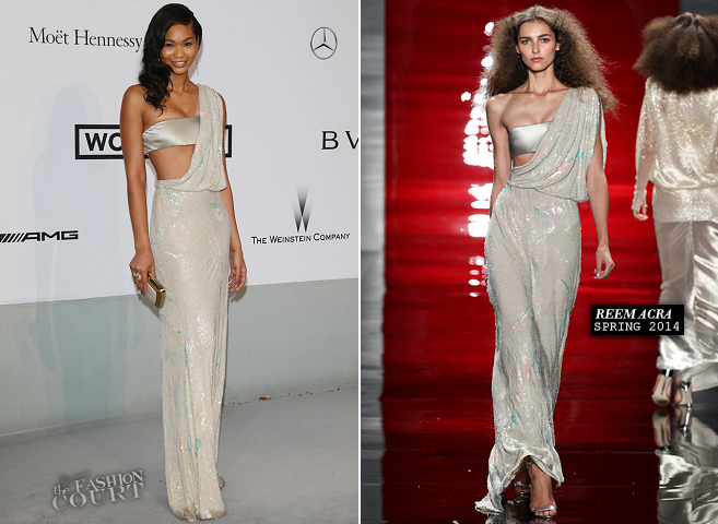 Chanel Iman in Reem Acra | amfAR's Cinema Against AIDS Gala 2014