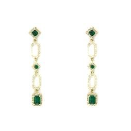 EFFY Jewelry 14k Yellow Gold Diamond and Emerald Drop Earrings