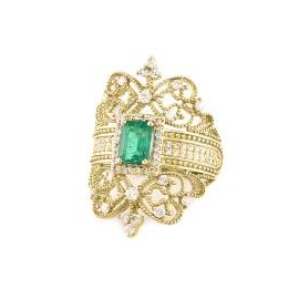 EFFY Jewelry 14k Yellow Gold Diamond and Emerald Ring