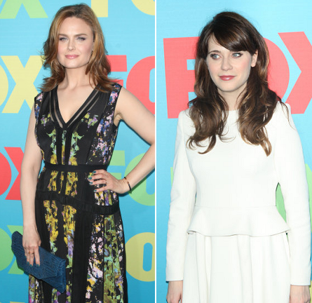 Emily Deschanel in BCBGMaxAzria & Zooey Deschanel in Vivienne Westwood Red Label | FOX Fanfront 2014