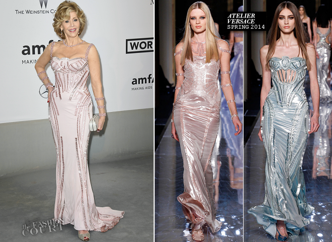 Jane Fonda in Atelier Versace | amfAR's Cinema Against AIDS Gala 2014