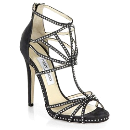 Jimmy Choo VINYL Suede and Crystal Sandals