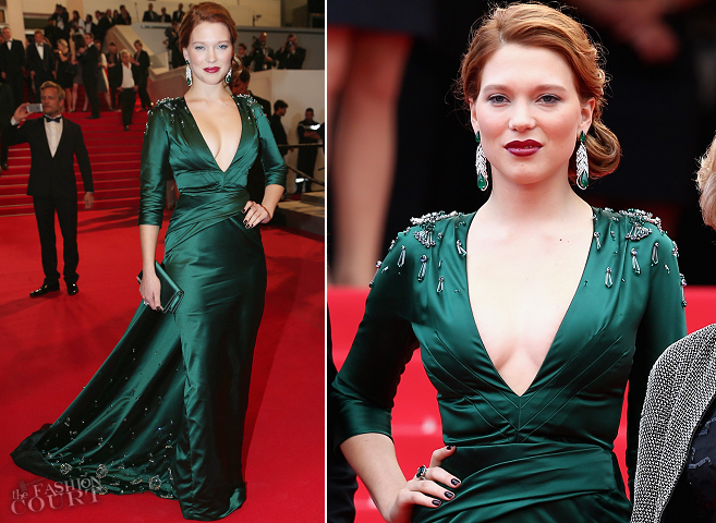 Léa Seydoux in Prada | 'Saint Laurent' Premiere - 2014 Cannes Film Festival