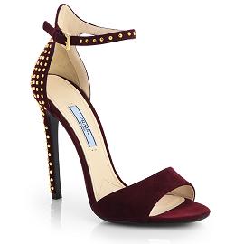 PRADA Studded Suede Anklestrap Sandals