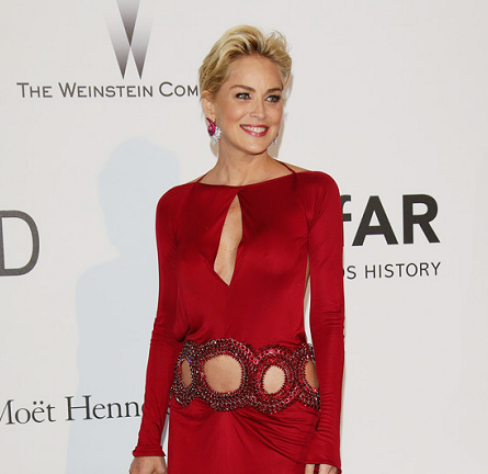Sharon Stone in Roberto Cavalli | amfAR's Cinema Against AIDS Gala 2014