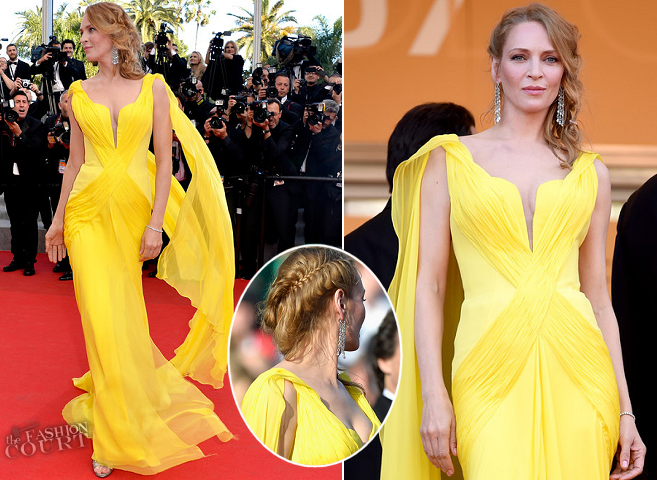 Uma Thurman in Atelier Versace | 'Clouds of Sils Maria' Premiere - 2014 Cannes Film Festival