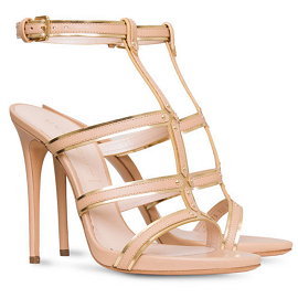 Casadei T-Bar Laminated Leather and Mirror Sandals