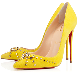 Christian Louboutin Studded 'Door Knock' Anis Suede Pumps in Yellow