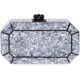 Edie Parker 'Fiona' Faceted Clutch in Silver Confetti