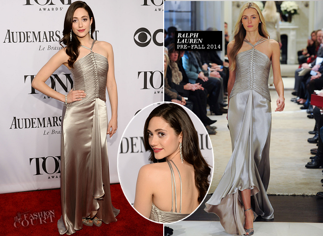 Emmy Rossum in Ralph Lauren | 2014 Tony Awards