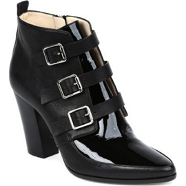 Jimmy Choo 'HUTCH' Textured Leather-Patent Buckled Ankle Boots
