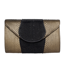 Khirma Eliazov 'Babo' Metallic Python & Stingray Clutch Bag, Copper/Black