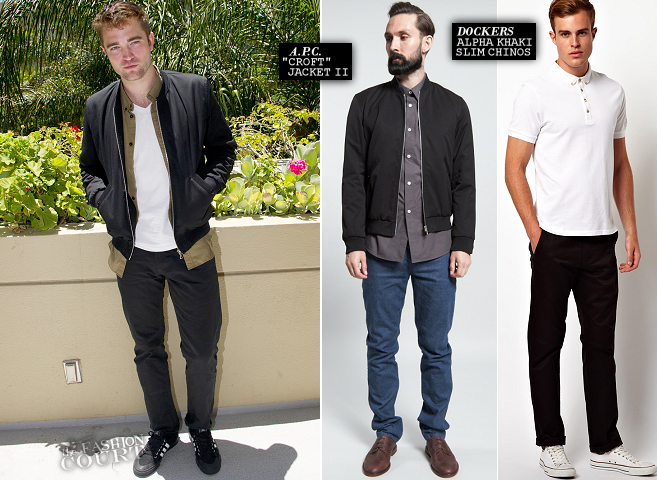 Robert Pattinson in A.P.C. & Dockers | 'The Rover' Beverly Hills Press Conference