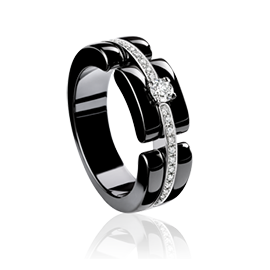 Chanel Fine Jewelry Medium 'Ultra' Ring in 18K White Gold, Black Ceramic and Diamonds