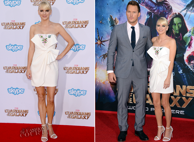 Anna Faris in Paule Ka & Chris Pratt in Sand Copenhagen | 'Guardians Of The Galaxy' Hollywood Premiere