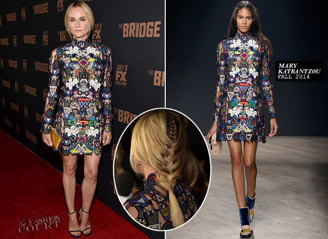 Diane Kruger in Mary Katrantzou | 'The Bridge' Season 2 Premiere