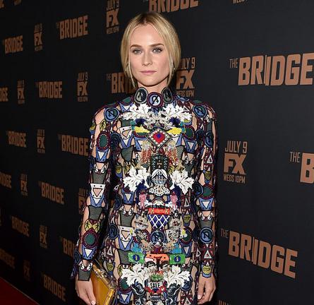 Diane Kruger in Mary Katrantzou | 'The Bridge' Season 2 Premiere