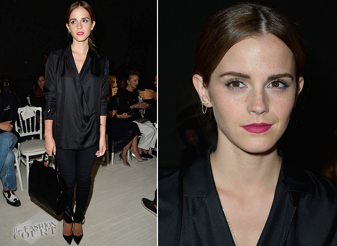 Emma Watson in Giambattista Valli & J Brand | Paris Couture Fashion Week: Fall 2014 – Front Row at Giambattista Valli