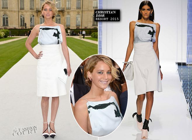 Jennifer Lawrence in Dior | Paris Couture Fashion Week: Fall 2014 – Front Row at Christian Dior
