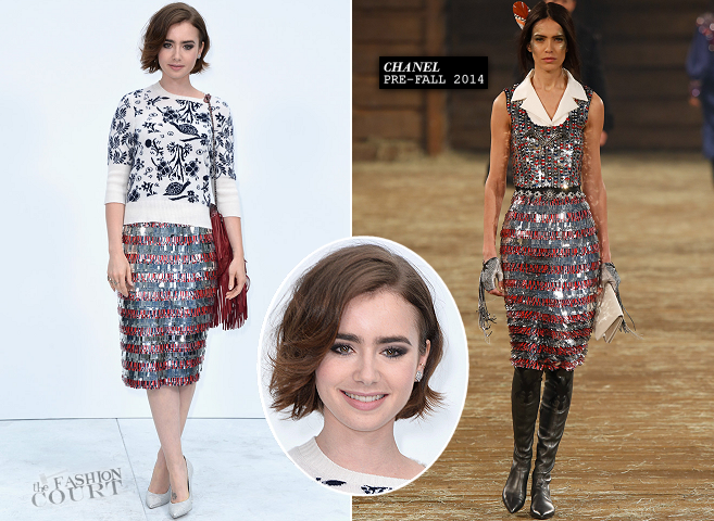 Lily Collins in Chanel | Paris Couture Fashion Week: Fall 2014 – Front Row at CHANEL