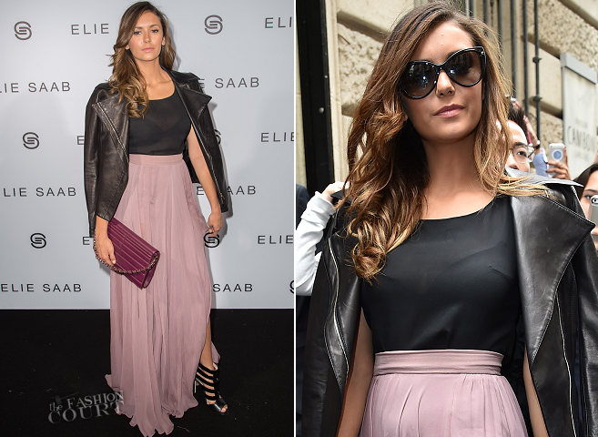 Nina Dobrev in Elie Saab | Paris Couture Fashion Week: Fall 2014 – Front Row at Elie Saab