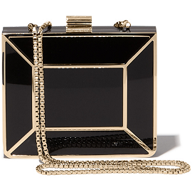 Salvatore Ferragamo Geometric Gold Trim Box Clutch Minaudière